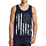 Basic T-Shirt Herren Bluse Mode 2018 Sommer Sonnena Männer Weste Casual Ärmellose Bluse Sportbekleidung Fitnessstudio Beiläufig Tanktop Lose Sportweste Schwarz und Weiß USA Flag Gedruckt (XL, Marine)