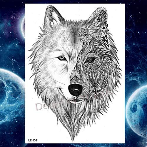 GHHCG Galaxy Löwe Tiger Wald Wasserdicht Schwarz Tattoos Aufkleber Körper Arm Universum Tatoos Temporäre Männer Frauen DIY, Glz131