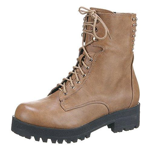 Damen Schuhe Stiefeletten Gefütterte Schnür Boots Schwarz 39 38gekZGg