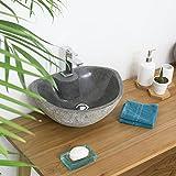 wohnfreuden Naturstein Waschbecken rund oval 40 cm poliert  Stein Aufsatzwaschbecken für Gäste WC Bad  Stein-Handwaschbecken für Waschplatz  schnell