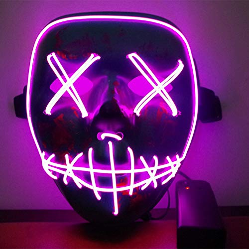 ske LED Light EL Wire Cosplay Maske Purge Mask für Festival Cosplay Halloween Kostüm ()