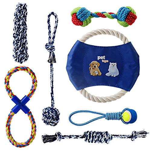 Jinxuny 7 Teile/Satz Hund Seil Spielzeug Hund Kauen Spielzeug für Welpen und Kleine Rasse Hunde Hund Kinderkrankheiten Spielzeug Schlepper Seil Beißring Zahnreiniger für Hunde Nicht für Aggressive K -