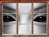 Böse Dämonenaugen Kunst B&W Fenster im 3D-Look, Wand- oder Türaufkleber Format: 62x42cm, Wandsticker, Wandtattoo, Wanddekoration