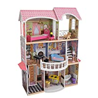 KidKraft 65839 Magnolia Mansion Wooden Dolls House with Furniture and Accessories Included, 3 Storey Play Set for 30 cm/12 Inch Dolls
