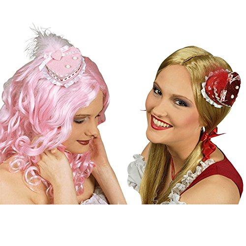 PARTY DISCOUNT NEU Mini-Hut Herz mit Clip, rot oder rosa Sortiert (Cup Cake Kostüm)