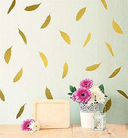 Yanqiao 12Pcs/set Herrliche Federn für Kinderzimmer Mode Dekoration Vinyl Entfernbare Hauptdekoration Wand Aufkleber DIY Materialien, Gold