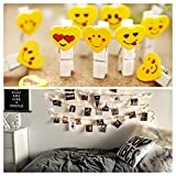 Lilone Wooden Mini Smiley Photo Clips with Rope (Yellow) - 10 Pieces