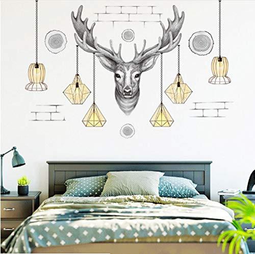 XingMang 3D Schwarz Einfache Moderne Elch Kronleuchter Wandaufkleber Wohnkultur Poster Home Wohnzimmer TV Sofa Hintergrund Dekoration