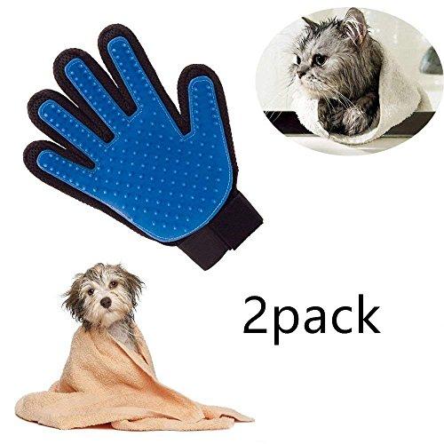 Locisne 2Packs perro de mascota Gato limpieza de baño cepillo guante Silicona True Touch para masaje suave y eficiente Grooming Groomer Eliminación removedor pelo Limpiar el guante,la mano derechas
