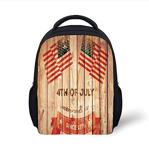 Kids School Backpack 4th of July Decor,American Flag Waving in The Wind in Cloudy Sunny Day Peace Liberty Picture,Blue Red Plain Bookbag Travel Daypack