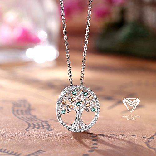mega creative jewelry lebensbaum silber damen kette mit kristallen von swarovski halskette. Black Bedroom Furniture Sets. Home Design Ideas