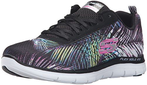 Skechers Flex Appeal 2.0-Tropical, Chaussures Multisport Outdoor Femme Noir (Black/multi)