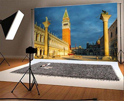 YongFoto 2,2x1,5m Foto Hintergrund San Marco Square in der Stadt Landschaft Venedigs Italien Wahrzeichen Fotografie Hintergrund Fotoshooting Portraitfotos Party Kinder Hochzeit Fotostudio Requisiten