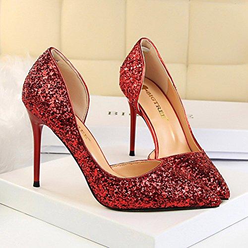 8c7f4c87a Beikoard-scarpa da Donna Estremamente Sexy Tacchi Alti Scarpe da Donna  Scarpe con Tacchi Sottili Scarpe da Donna(Rosso,38)