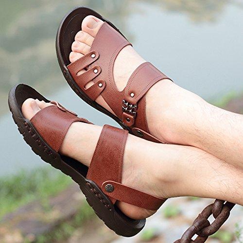 Xing Lin femmes Sandales Sandales pour hommes mâle marée dété de plage Chaussons Trend et décontracté Chaussures Sandales Brown 1