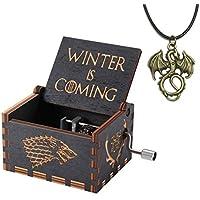 Caja de musica juego de tronos, cajas de música con manivelas de madera talladas antiguas