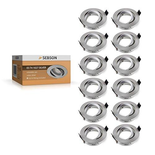 Decke Einbaurahmen (SEBSON Einbauleuchte schwenkbar silber / Einbaustrahler (LED / Halogen), 12er Pack)