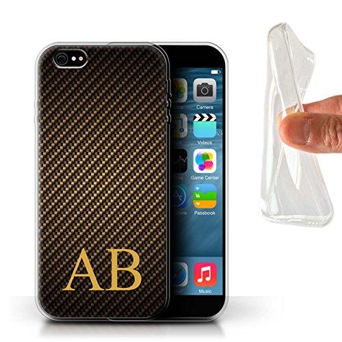 Personnalisé Motif Fibre Carbone Coque Gel/TPU pour Apple iPhone 6+/Plus 5.5 / Blue Monogram Design / Initiales/Nom/Texte Etui/Housse/Case Monogramme d'Or