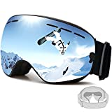 FENYI Ski Goggles Glasses for Men Women,UV 400 Protection Spherical Framless Anti-fog Snow Glasses with Double Lens