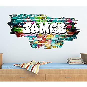 Personalised Graffiti Brick Name Wall Art Sticker 95cm W X 46cm H