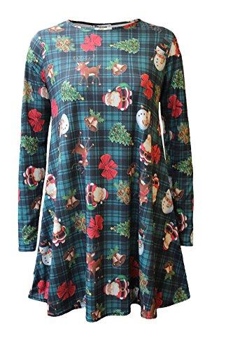 Islander Fashions Womens Paper Print P�re No�l Swing Dress Dames manches longues Xmas Party Top S / 3XL Snoman Green Tartan
