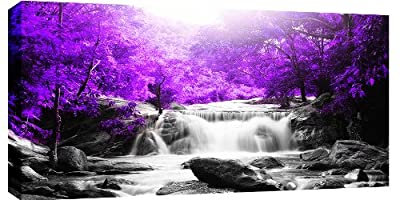 Large Purple Trees Waterfall Box Canvas 103 x 52cm ready to hang 3cm frame depth