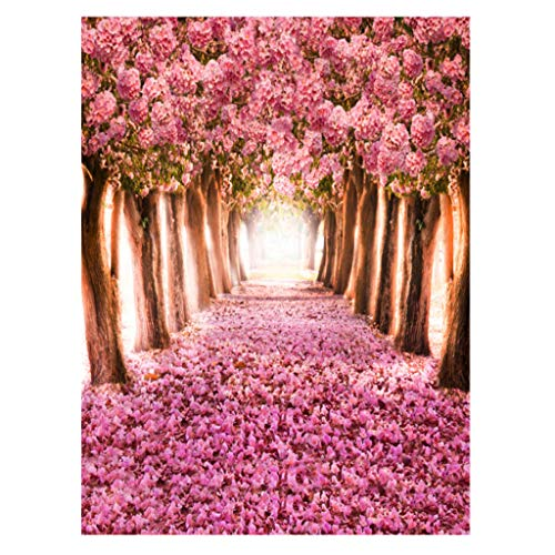 Junlinto, 5x7FT Vinyl Stoff horizontale rosa Blüten Computer Hintergrund gemalt Fotografie Kinder Kulissen für Fotografie Studio -
