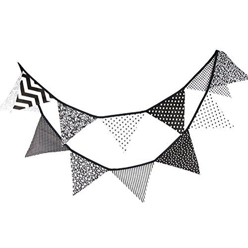 Wonque Flaggen Dreiecksflagge Leinenflagge für Party, Hochzeit, Accessoires, Heimdekoration, 1 Stück, Leinen, Black and White 1, 3.2M (Black And Dekorationen White-parties)