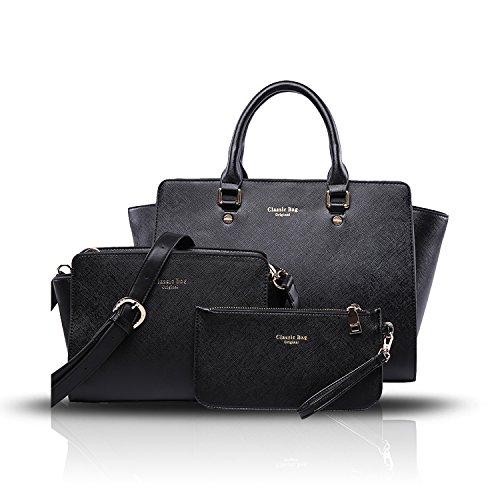 Sunas Il nuovo sacchetto di spalla trasversale della borsa delle donne di retrò 3 adatta i raccoglitori del sacchetto del messaggero del sacchetto femminile nero
