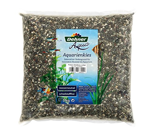 Dehner Aqua Aquarienkies Palaro, Edelkies, Körnung 3 - 5 mm, 5 kg, weiß/grau/schwarz