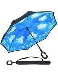 Reverse-Double-Layer-Folding Inverted Regenschirm und Anti-UV-Sonne und Regen Regenschirme mit C- förmigen Hands Free Griff Best Compact Regenschirm Reise für Auto—OYSHOPP (Himmel Wolke)