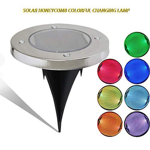 Solar-LED-Gartenleuchten im Freien Bodeneinbauleuchte Landschaftsbeleuchtung Farbwechsel Edelstahl Wegeleuchte für Gehweg Patio Hof Rasen Auffahrt Blumenbeet Hofdekoration (4 Packungen) (1PCS) -