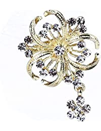 a67c61a0d7701 NYAOLE Flowers Design Brooch Pin Fashion Faux Pearl and Crystal Broach  Women Girls Dress Decoration for…