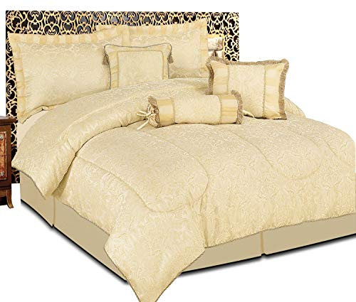 Luxuriöses Bettwäsche-Set, 7-teilig, Jacquard, gestepptes Tagesdecken-Set, Bettwäsche-Set + 2Kissenbezüge: für Doppelbett und Kingsize-Bett, Amazon Beige, Doppelbett (King-size-betten Ensembles)