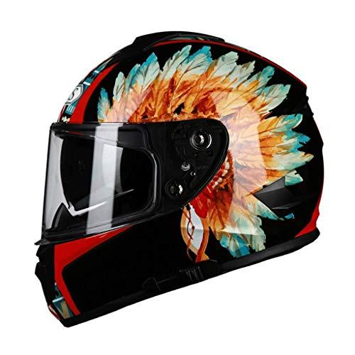 Zhanghongshop Schutzhelme Männer und Frauen Motorradhelm Full Face Helm Volle Persönlichkeit Cool Seasons Winter Helm Lokomotive (Color : H, Size : L)
