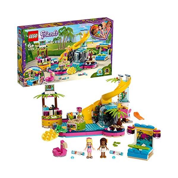 LEGO - Friends La festa in piscina con le Mini-Doll Andrea e Stephanie, DJ Box, Acquario e Pesce, Idea Regalo, 41374 2 spesavip