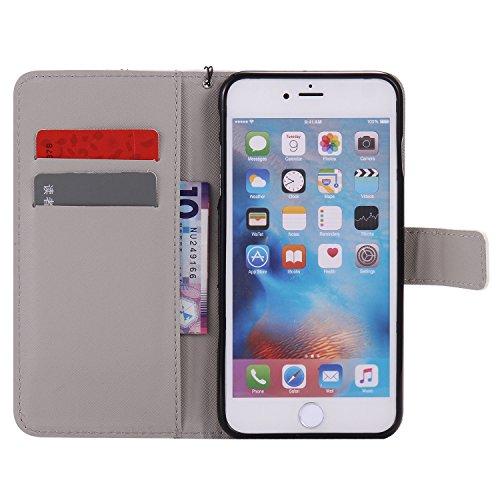 PU Coque Cuir iPhone 6 Plus (5.5 pouces), étui en cuir PU Cuir Flip Magnétique Portefeuille Fermeture Aimantée de Motif Imprimé Étui Housse en Cuir Ultra-mince Avec La Stand Fonction Stand pour Apple  4