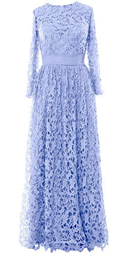 MACloth Women Long Sleeve Lace Long Mother of Bride Dress Formal Evening Gown Himmelblau