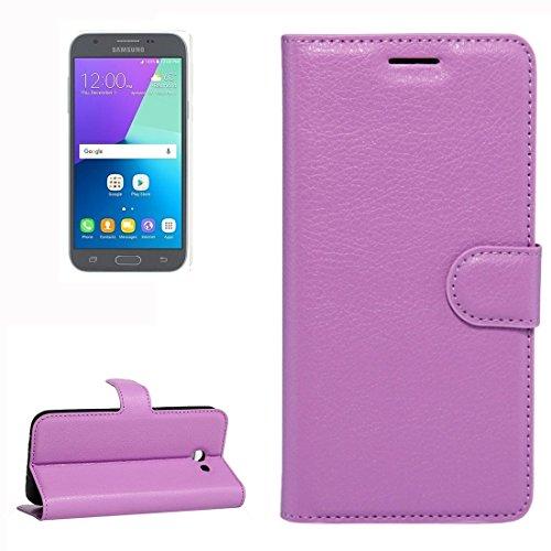 Samsung Galaxy J3 (2017) & J3 Prime Case, Litschi Texture Horizontale schlaffe Ledertasche mit Halter und Karten Slots & Wallet für Samsung Galaxy J3 (2017) & J3 Prime by diebelleu ( Color : Red ) Purple