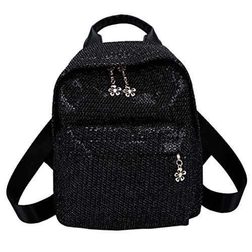 11217c81d0 Darringls Zaino Donna Elegante, Borse Donna Zainetto Casual Handbag Sequin  Solid Color School Bag Backpack