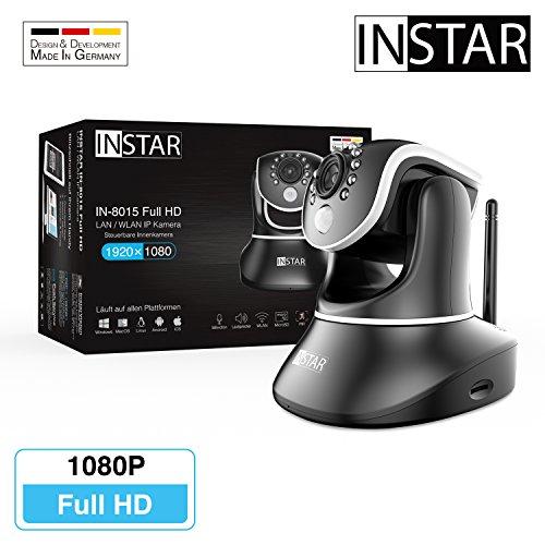 NSTAR IN-8015 Full HD schwarz - WLAN Überwachungskamera - IP Kamera - IP Cam - Innenkamera - Pan Tilt - Alarm - PIR - Bewegungserkennung - Nachtsicht - Weitwinkel - LAN - WiFi - RTSP - ONVIF - Für 7 Windows Kindle-app
