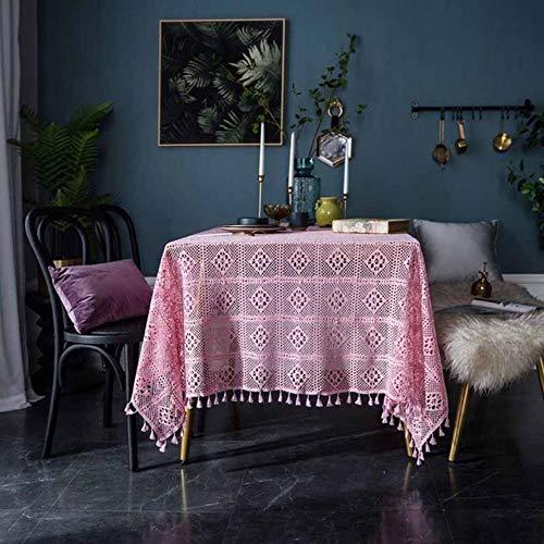 Kdyi Tischdecke Dunkelgrün Vintage Handarbeit Häkeln Gestrickte Runde Tischdecke Hohl Kunst Dekoration Wohnzimmer Tischdecke, Rosa -