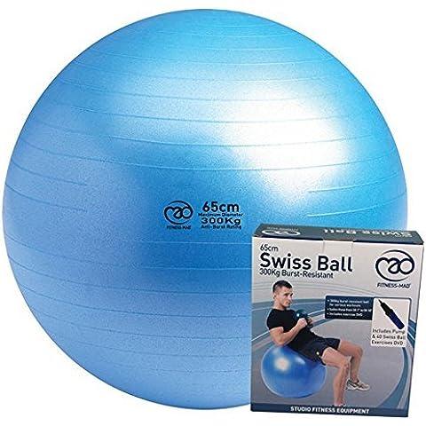 Fitness-Mad-& allenamento per Pilates e Yoga, antiscoppio Swiss Ball & DVD-Pompa, colore: blu
