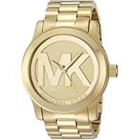 55f7b9711fd35 مايكل كورس ساعة للنساء بمينا لون ذهبي و سوار من الستاينلس ستيل -  MK5473
