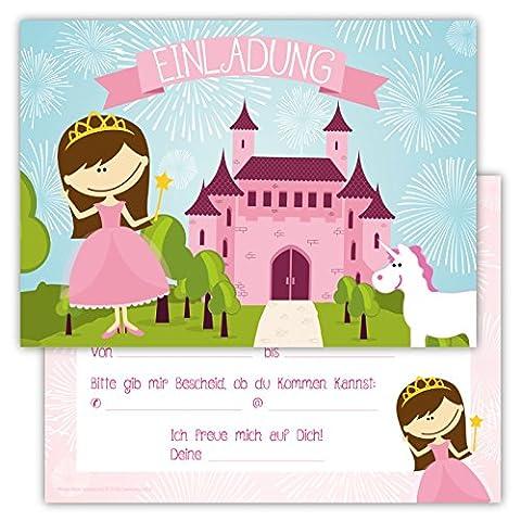 12 Lustige Einladungskarten im Set für Kindergeburtstag Prinzessin Party für Mädchen Kinder Einhorn Schloss Partyspiele Karten Rosa Pink (Kostüm-party-einladung Für Kinder)
