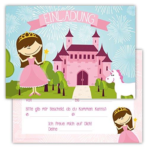 12 Lustige Einladungskarten im Set für Kindergeburtstag Prinzessin Party für Mädchen Kinder Einhorn Schloss Partyspiele Karten Rosa Pink (Kinder Kleid Lustiges Für)