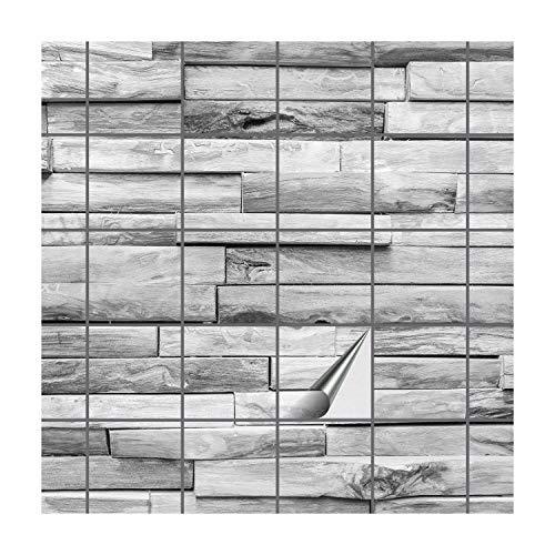 FoLIESEN Fliesenaufkleber für Bad und Küche   Fliesenposter Woody Plank   Fliesengröße 15x15 cm   Fliesenbild 40 TLG. - 120x75 cm (LxB) -