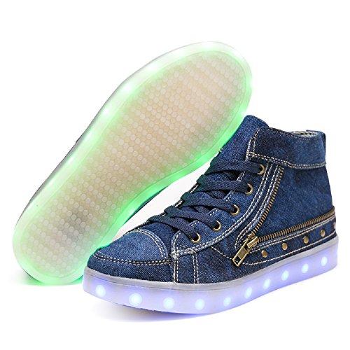IDEA FRAMES LED leuchtet Schuhe Mode Sneaker USB Lade für Frauen Blau