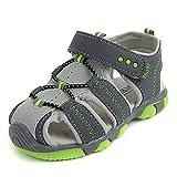Jungen Sommer Sandale, BAINASIQI Kinder Outdoor Sport Sandale Ultraleicht Breathable Lauflernschuhe mit Klettverschluss (EU28, grau)