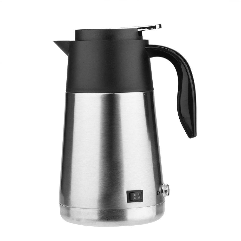 Isolierkanne Thermoskanne Tragbare 1300 ml 12/24 V Reise Auto Lkw Wasserkocher Schnell Kochen mit Zigarettenanzünder Fuse für Tee Kaffee trinken(12V)